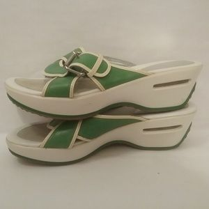 Cole Haan slide womens sandals green and white